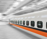Fast train in motion. Fast train passing by with Motion blur Stock Image