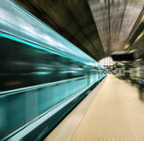 Fast train in motion blur. This image represents Fast train in motion blur Royalty Free Stock Photos