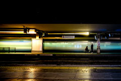Fast Train with Motion Blur. In the train station at night Stock Photography