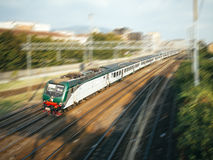 Fast train moving. On the railway with panning effect stock photography