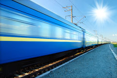 Fast train passing by. Motion blur Royalty Free Stock Photos