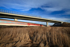 Fast train passing under a bridge Royalty Free Stock Photo