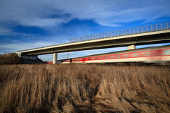 Fast train passing under a bridge on a lovely summer day Royalty Free Stock Image