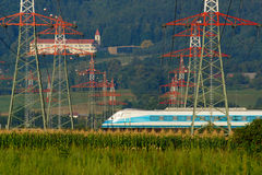 Fast Train, Power Lines, Castle Stock Photography