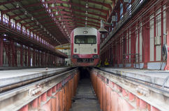 Fast train in the service depot Royalty Free Stock Photography