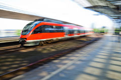 Fast train at the station Stock Photo