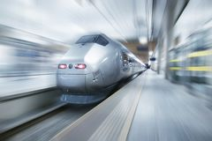 Concept and idea of trasportation. Fast train on the station. Concept and idea of trasportation royalty free stock photography