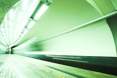Fast train in subway Stock Photos