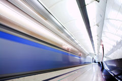Fast train in subway Royalty Free Stock Images