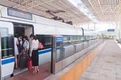 Fast train at Tangjiawan station Royalty Free Stock Photo