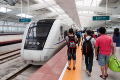 Fast train at Zhuhai railway station Royalty Free Stock Image