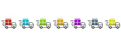 Fast Transport and Delivery icon for colorful Christmas or Birthday presents stock illustration