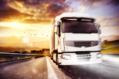 Fast transport truck. Mixed media Stock Image