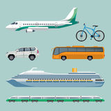Fast transportation means set of modern transport items. Fast means of transportation set of modern transport items. Vector poster of cartoon illustrations with Stock Photography