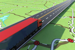 Fast truck in a highway. GPS tracking of shipment. 3D Rendering. Image of map of streets with a truck in highway. 3D Rendering stock illustration