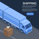 Fast truck shipping concept background, isometric style. Fast truck shipping concept background. Isometric illustration of fast truck shipping vector concept vector illustration