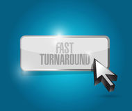Fast turnaround button sign illustration. Design over blue Royalty Free Stock Photos