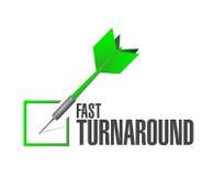 Fast turnaround check dart sign illustration. Design over white Stock Photos