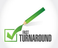 Fast turnaround check mark sign. Illustration design over white Stock Photos