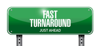 Fast turnaround street sign illustration. Design over white Stock Photo