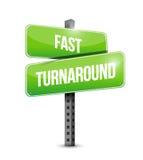 Fast turnaround street sign illustration design. Over white Stock Photo