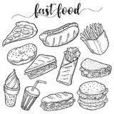 Fast or unhealthy junk food sketches of hot dog. Set of isolated sketches of junk or fast food. Hot dog and hamburger, cheeseburger and sandwich, donut or Stock Photos