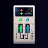 Fast uppladdningsstationer för elbil AC och DC för medelladdningspunkt Kompressorpropp Vektor smart EV vektor illustrationer