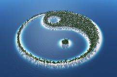 Yin och Yang tropisk ö arkivfoton