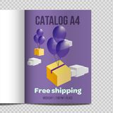 Fast vector catalog A4 sheet illustration promotion. Catalog A4 vertical. Fast design vector illustration promotion. Shipping free. fly box on balloons vector illustration