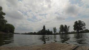 Fast video timelapse landscape pier river sky clouds trees summer. stock video