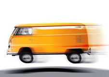 Fast volkswagen transporter. Blurred yellow volkswagen transporter on white background Royalty Free Stock Photography