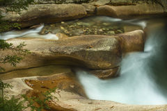 Fast water and still pool above The Basin, New Hampshire. Royalty Free Stock Photos
