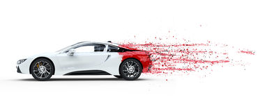 Really Fast White Sports Car. Paint Peeling Off Royalty Free Stock Photos