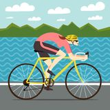 Fast woman racing cyclist Royalty Free Stock Image