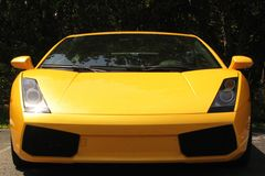 Yellow sports car. Front view of stylish yellow sports car Royalty Free Stock Image