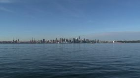 Fast zoom-out Skyline Vancouver, British Columbia, Canada stock footage