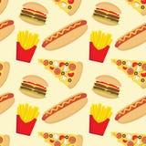 Fasta food bezszwowy wzór w mieszkanie stylu ilustracja wektor