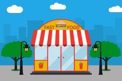 Fasta Food budynku fasada z signboard z hamburgerem, francuscy dłoniaki, sodowana filiżanka, latarnie uliczne, drzewa również zwr ilustracja wektor