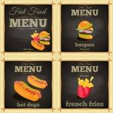 Fasta food chalkboard set Fotografia Royalty Free