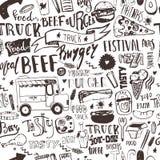 Fasta food ciężarowy Bezszwowy wzór z literowania i doodle rzeczami Wektorowy festiwalu tło dla menu, zawija Obrazy Stock