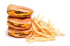 Fasta Food francuz i hamburger Smażymy Odosobnionego na bielu Zdjęcia Royalty Free