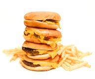 Fasta food francuz i hamburgery smażą odosobnionego Zdjęcia Royalty Free