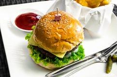 Fasta food hamburger, francuzów dłoniaki i ketchup, fotografia royalty free
