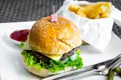Fasta food hamburger, francuzów dłoniaki i ketchup, obrazy stock