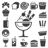 Fasta food i deseru ikony set. royalty ilustracja