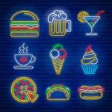 Fasta food i napoju neonowi znaki royalty ilustracja