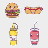 Fasta food kawaii inkasowe kreskówki Obraz Stock