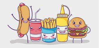 Fasta food kawaii kreskówka ilustracja wektor