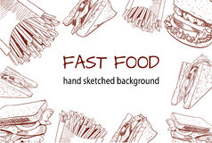 Fasta food konturu handdrawn WEKTOROWY tło Fotografia Royalty Free