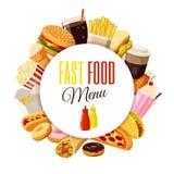 'fasta food menu' etykietka z hamburgerem, francuzów dłoniaki, kawa, kanapka, popkorn, lody, pizza, taco i w ten sposób royalty ilustracja